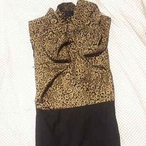 Lanvin Wool/Silk Embossed Mid Length Dress